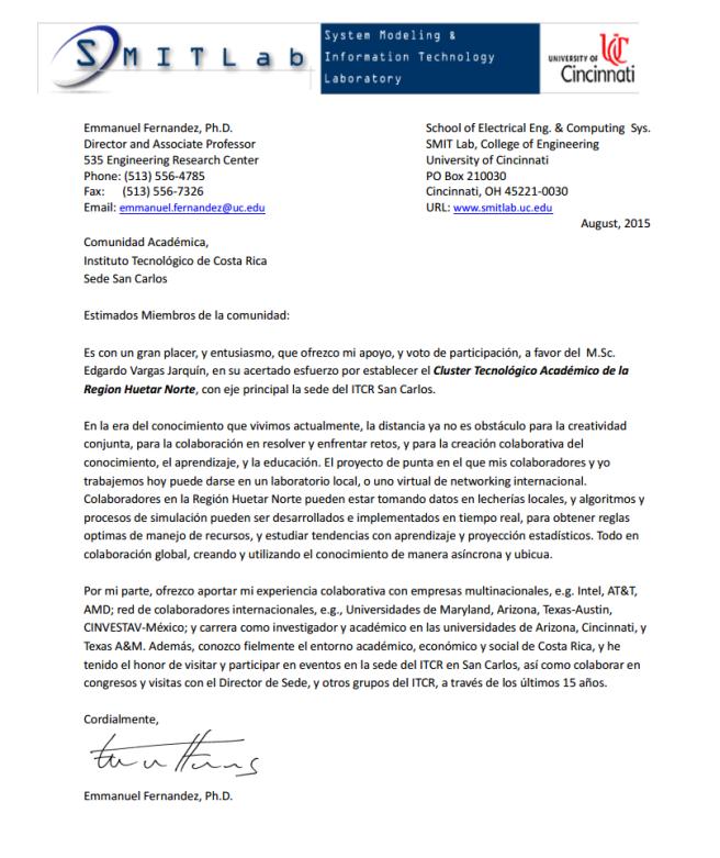 Carta del Dr. Emmanuel Fernádez-Gaucherand.  (emmanuel.fernandez@uc.edu)